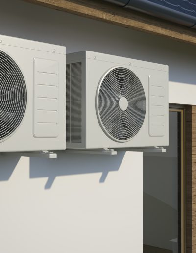 Air conditioner system - two air compressors on house, 3D illustration